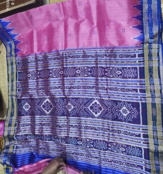 Pink Blue Traditional Khandua Silk Saree without Blouse piece