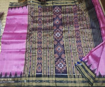 Pink and Black Khandua Silk Saree without Blouse Piece