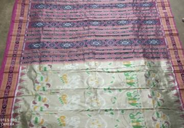 Animal and Flower Motifs Khandua Silk Saree without Blouse Piece