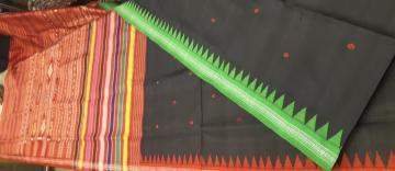 Ganga Jamuna Border double Aanchal Berhampuri Silk Saree with Blouse Piece
