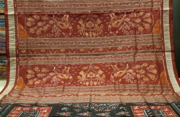 Peacock Motifs Aanchal Tree and tribal motifs Body Ikat Silk Saree with Blouse Piece