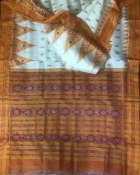All over Ikat work Cream and orange combination Traditional Khandua Silk Saree without Blouse Piece