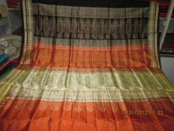 Orissa Handloom Bomkai Saree in Rust
