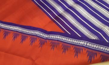Phoda kumbha border Traditional Berhampuri Silk Saree with Blouse Piece