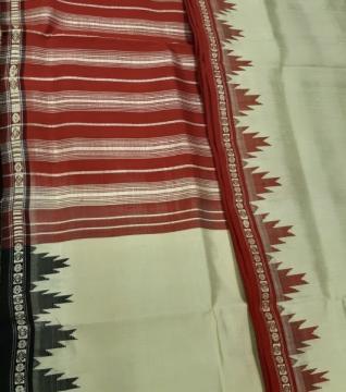 Ganga Jamuna Phoda Kumbha Border Plain Body Traditional Berhampuri Silk Saree with Blouse Piece