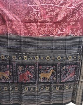 Master weaver s creation peacock Motifs Cotton Ikat Saree with Blouse piece