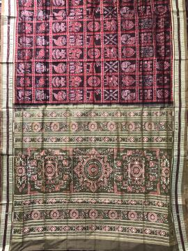 Intricately woven Sambalpuri Nabakothi Ikat Silk Saree with Blouse Piece