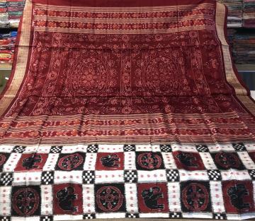Elephant and chakra motifs Pasapalli Touch Ikat Silk Saree with Blouse Piece