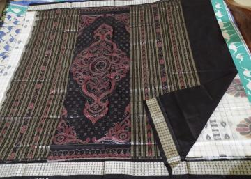 Exclusive woven Baghambari Silk saree in white and black with blouse piece