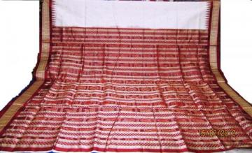 Orissa Handloom Traditional Saree in White-Maroon