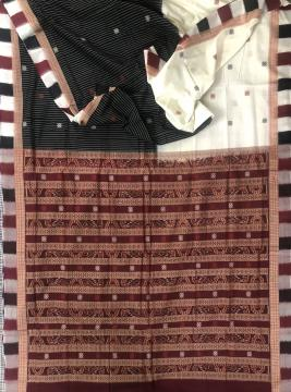Skirt pattern Ikat and butis Cotton Saree with Blouse Piece