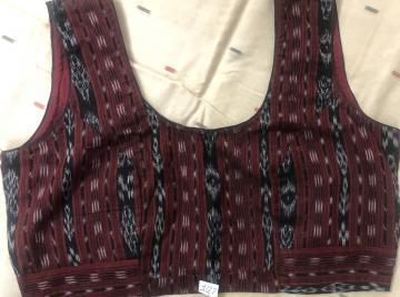Cotton ikat readymade sleeveless blouse