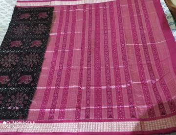 Elephant motifs Silk Ikat saree with Blouse piece
