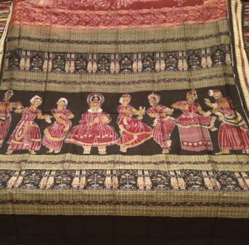 Master Weaver s Indian Classical dance poses with mudras Mandiramalini ikat silk saree with blouse
