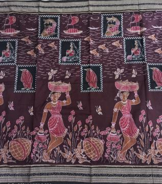 Exclusively woven fish and fisher women Cotton double Ikat Saree with Blouse Piece