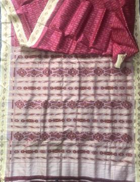 All over Ikat work pink and off white Khandua Silk Saree without Blouse piece