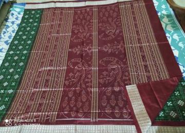 Peacock motifs Aanchal Double Ikat Pasapalli Silk Saree with Blouse Piece