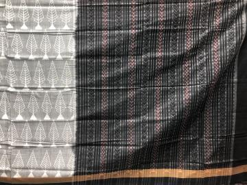 Grey and black cotton Ikat Saree with blouse Piece