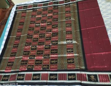 Doll border and Aanchal Maroon black Bomkai Silk Saree with Blouse piece