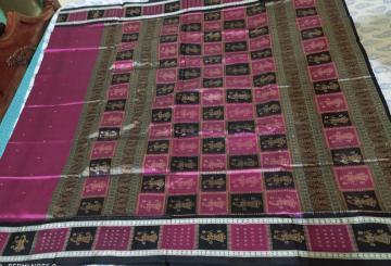 Timeless Putuli border and Aanchal Bomkai Silk Saree with Blouse Piece