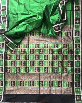 Doll border and Aanchal Green black Bomkai Silk Saree with Blouse Piece