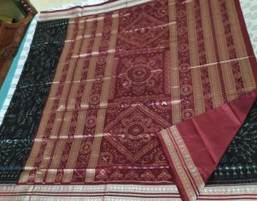 Tribal Motifs body with traditional Aanchal Ikat Silk Saree with Blouse Piece
