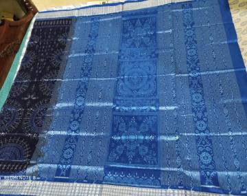 Exclusively woven Tribal Motifs Ikat Silk Saree with Blouse Piece
