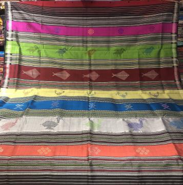 Bird and fish motifs Aanchal Phoda kumbha border Berhampuri Silk Saree with Blouse Piece