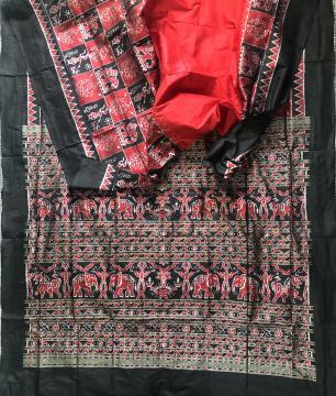 Tribal and Elephant Motifs Ikat Silk Saree with Blouse Piece