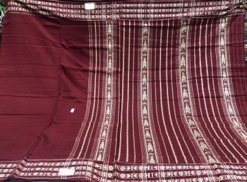 Maroon Habashpuri Cotton Saree with Blouse piece