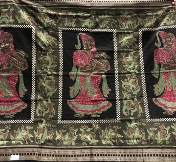 Intricately woven women and deer motifs Cotton Ikat Saree