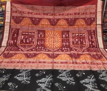 Jhoti Aanchal with birds motifs body Ikat Silk Saree with Blouse Piece