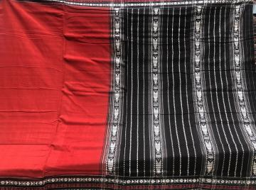Border and Aanchal work cotton Habaspuri Saree