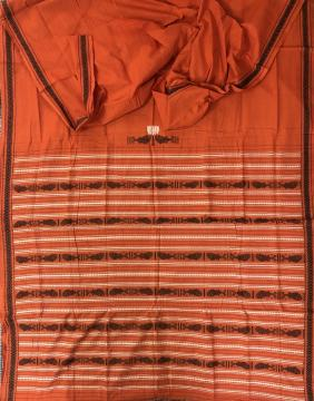 Fish motifs Cotton Dhalapathara Saree with Blouse Piece