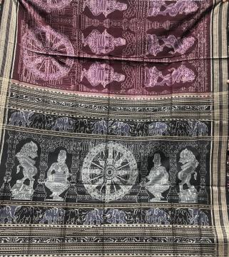 Temple Sculpture theme Cotton Ikat Saree with Blouse Piece