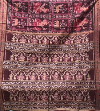 Deer and women motif Cotton Ikat Saree without Blouse piece