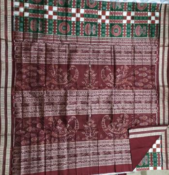 Kalash motifs Traditional Utkallaxmi Silk Saree with Blouse Piece