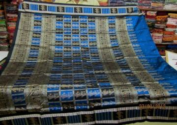 Odishi Handloom doll border and doll aanchal bomkai saree sari in gorgeous blue