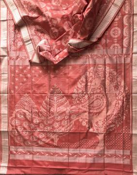 Laxmi Pooja Jhoti body with peacock motif Aanchal Ikat Silk saree in Peach color with blouse piece
