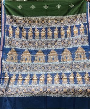 Intricately woven temple and dancer motifs cotton Bomkai saree with blouse piece