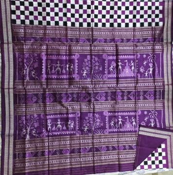 Tribal Aanchal body check boxes Pasapalli Silk Saree with Blouse piece