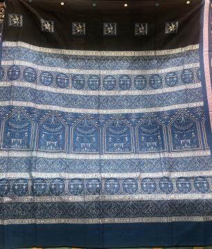 Intricately woven Tribal motifs Cotton Bomkai Saree with Blouse Piece