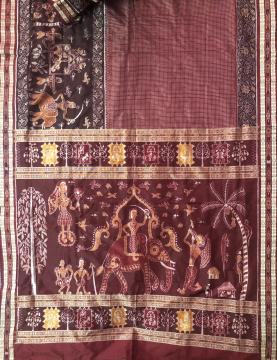 Marriage theme in Tribal Art Ikat Silk Saree with Blouse Piece