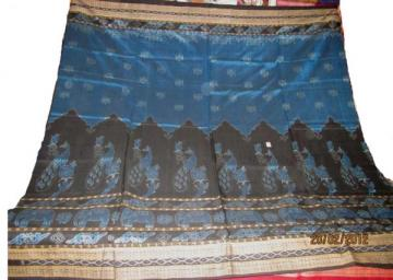 Odisha Handloom Traditional Animal Motif Ikat Saree