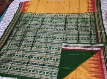Double border fish n butis Bomkai Silk Saree with Blouse Piece