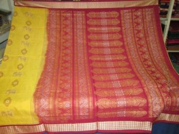 Odisha Handloom Traditional Elephant Motif Ikat body and bomkai aanchalSaree