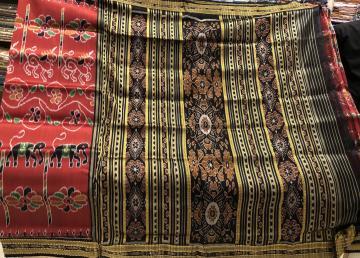 All over Ikat work Maroon black Khandua Silk Saree without Blouse Piece