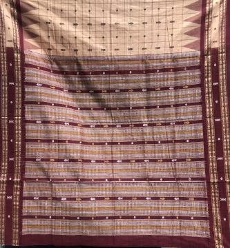 Fish motifs Cotton Hazar buti Saree with Blouse Piece