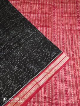 Mathematical equations black and Red Ikat Silk Saree with Blouse piece