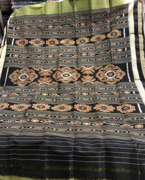Double border Traditional Khandua Silk Saree without blouse Piece